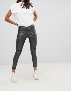 Серебристые укороченные джинсы скинни с эффектом металлик Waven - Серебряный