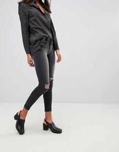 Рваные укороченные джинсы скинни Waven - Черный