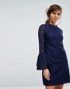 Кружевное платье А-силуэта с рукавами клеш Little Mistress - Темно-синий
