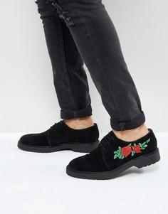 Черные замшевые дерби на шнуровке с цветочной вышивкой ASOS - Черный