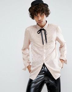 Рубашка с выжженным леопардовым узором и черным бантом-завязкой ASOS - Розовый