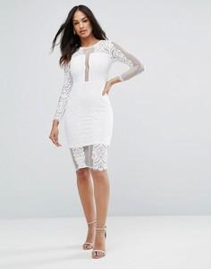 Кружевное платье миди кремового цвета с длинными рукавами Ax Paris - Кремовый