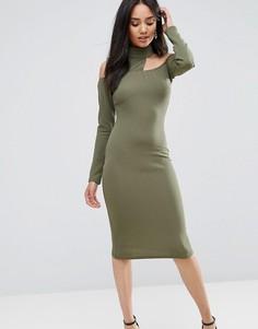 Облегающее платье миди цвета хаки Ax Paris - Зеленый