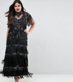 Платье макси с декоративной отделкой A Star Is Born Plus - Черный