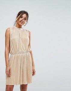 Бархатное плиссированное платье без рукавов Aeryne - Золотой