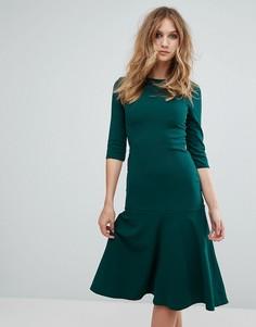 Платье миди из крепа с короткими рукавами Club L - Зеленый