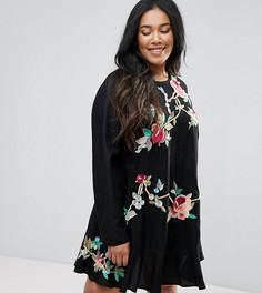 Платье мини с вышивкой и заниженной талией ASOS CURVE - Черный