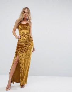 Бархатное платье макси с присборенной отделкой сбоку Club L - Желтый