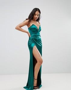 Платье-бандо макси с разрезом и глубоким вырезом Club L - Зеленый