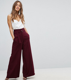 Широкие брюки с завышенной талией и поясом ASOS PETITE Tailored - Красный