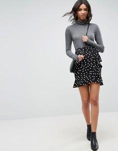 Мини-юбка в горошек с запахом ASOS - Черный