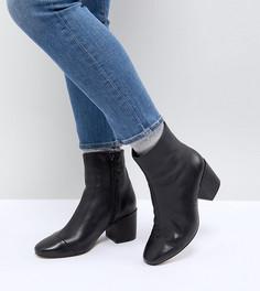 Кожаные ботинки на блочном каблуке для широкой стопы ASOS ROSANA - Черный