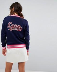 Трикотажный кардиган в спортивном стиле Love Moschino - Синий