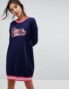 Платье-джемпер в спортивном стиле с логотипом Love Moschino - Синий