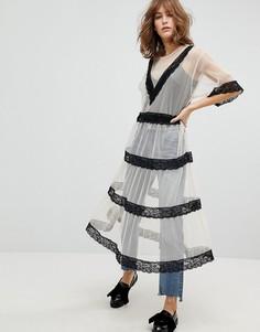 Свободное платье миди с кружевными вставками Monki - Розовый