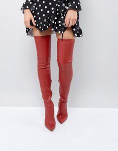 Сапоги-ботфорты на каблуке из искусственной кожи River Island - Красный