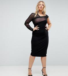 Платье на одно плечо с сетчатой отделкой и сборками ASOS CURVE - Черный