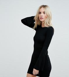 Облегающее платье мини с расклешенными рукавами ASOS PETITE - Черный