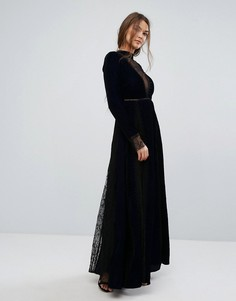 Бархатное платье макси с тиснением и кружевными вставками Frock and Frill - Темно-синий