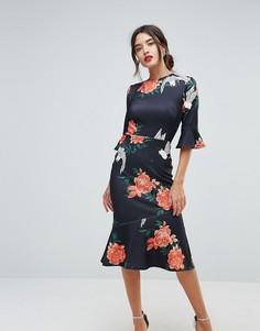 Платье с цветочным принтом и оборками на рукавах True Violet - Темно-синий