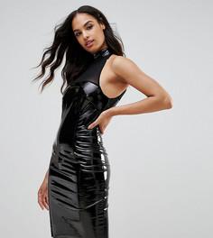 Облегающее платье с сетчатой вставкой NaaNaa - Черный