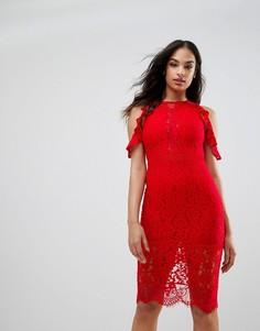 Кружевное облегающее платье миди с вырезами на плечах NaaNaa - Красный