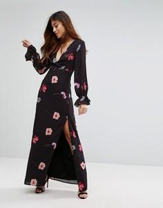 Платье макси с глубоким вырезом и завязками на манжетах Oh My Love - Мульти