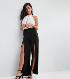 Широкие брюки с разрезами до бедра ASOS PETITE - Черный