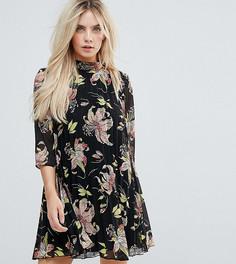 Плиссированное платье мини с цветочным принтом ASOS PETITE - Мульти