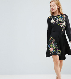 Приталенное платье с вышивкой ASOS PETITE - Черный