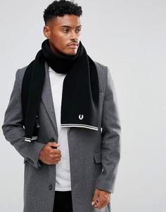Черный шарф с добавлением овечьей шерсти Fred Perry - Черный