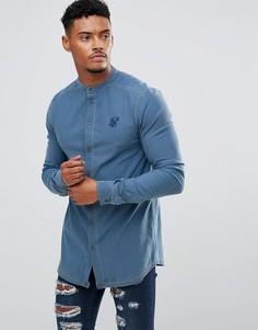 Облегающая джинсовая рубашка с воротником на пуговицах SikSilk - Синий