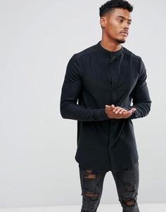 Облегающая джинсовая рубашка с воротником на пуговицах SikSilk - Черный
