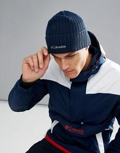 Темно-синяя шапка-бини с логотипом Columbia - Темно-синий