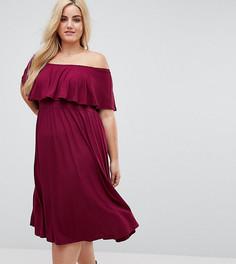 Платье миди с открытыми плечами и оборкой ASOS CURVE - Красный
