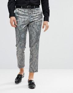 Укороченные брюки скинни с принтом пейсли ASOS - Зеленый