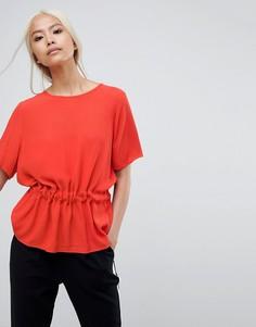 Блузка со сборками на талии Selected - Красный