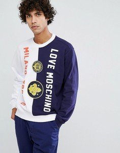 Свитшот с вышитым логотипом Love Moschino - Темно-синий