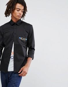 Рубашка с золотистым карманом Love Moschino - Черный