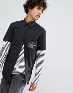 Рубашка с коротким рукавом и нагрудным карманом Love Moschino - Черный