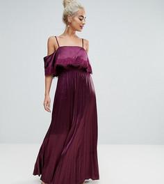 Атласное плиссированное платье на бретелях с кружевной отделкой ASOS PETITE - Красный