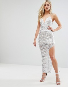 Платье макси цвета металлик с разрезом Love Triangle - Серебряный