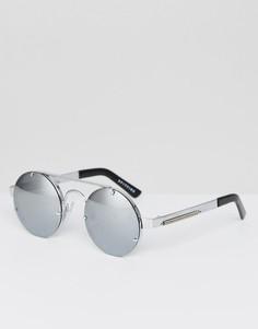 Круглые солнцезащитные очки в серебристой оправе Spitfire Lennon2 - Серебряный