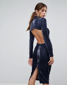 Бархатное платье миди с открытой спиной и высоким воротом PrettyLittleThing - Серый