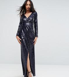Платье макси с пайетками и запахом TFNC - Темно-синий
