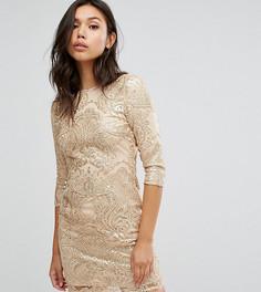 Декорированное пайетками платье с открытой спиной TFNC - Золотой