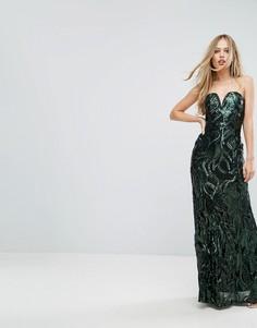 Платье-бандо макси с пайетками TFNC - Зеленый