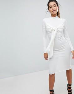 Платье миди в рубчик с завязкой Missguided Londunn - Белый