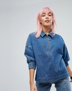 Свободный джинсовый топ Noisy May - Синий
