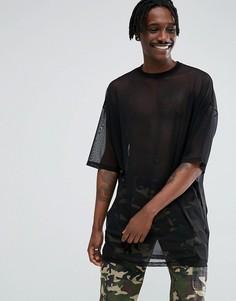 Черная длинная сетчатая oversize-футболка ASOS - Черный
